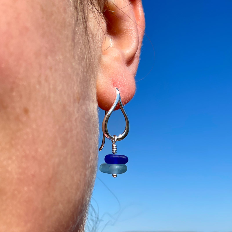 Tear Drop Cobalt & Light Blue Sea Glass Stack Earrings
