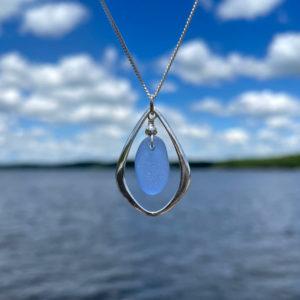 Light Blue Sea Glass Tear Drop Necklace