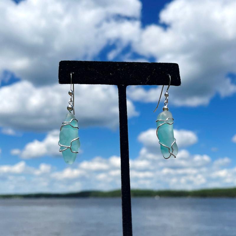 Light Teal Sea Glass Earrings