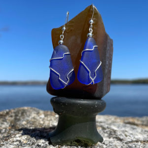 Cobalt Blue Sea Glass Earrings