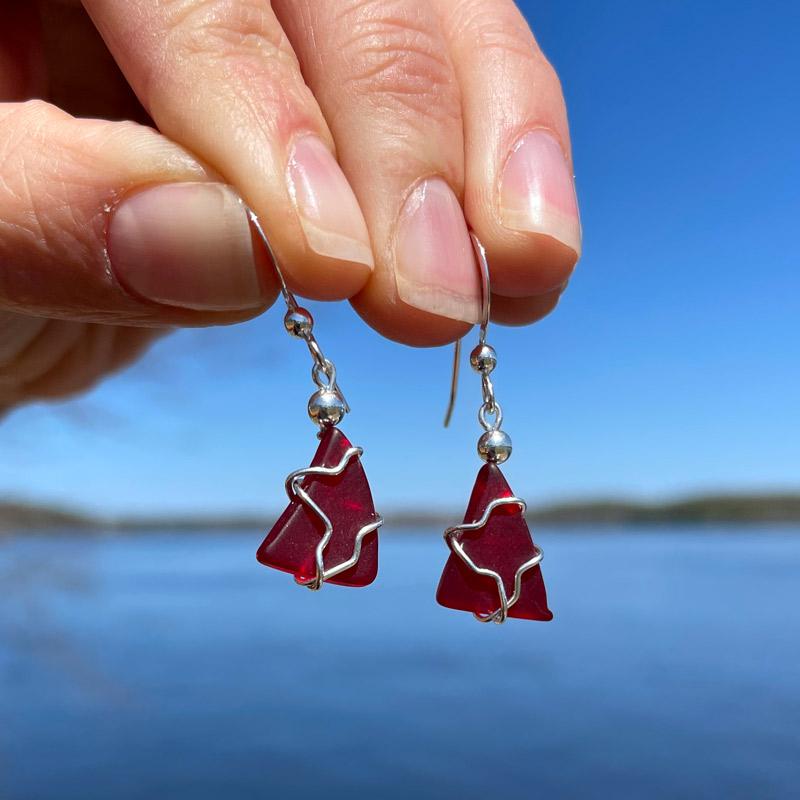 Red Sea Glass Earrings