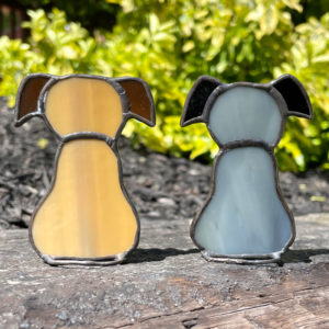 Light Brown Stained Glass Dog and Grey Stained Glass Dog