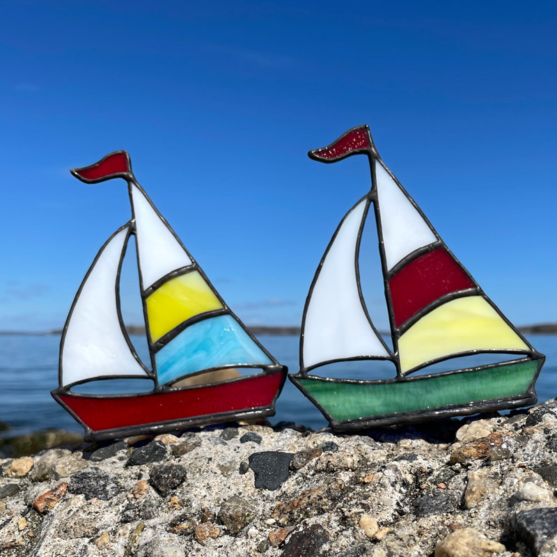 2 Stained Glass Sailboats