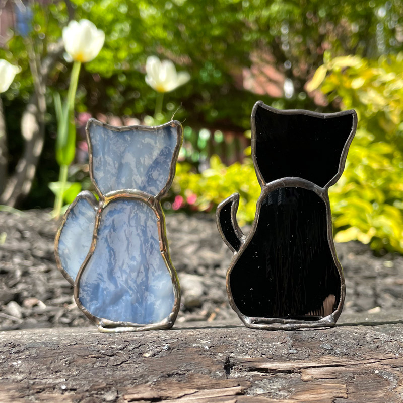 Grey Stained Glass Cat and Black Stained Glass Cat