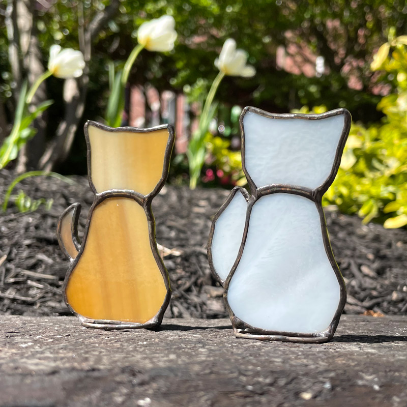 Tan Stained Glass Cat and White Stained Glass Cat