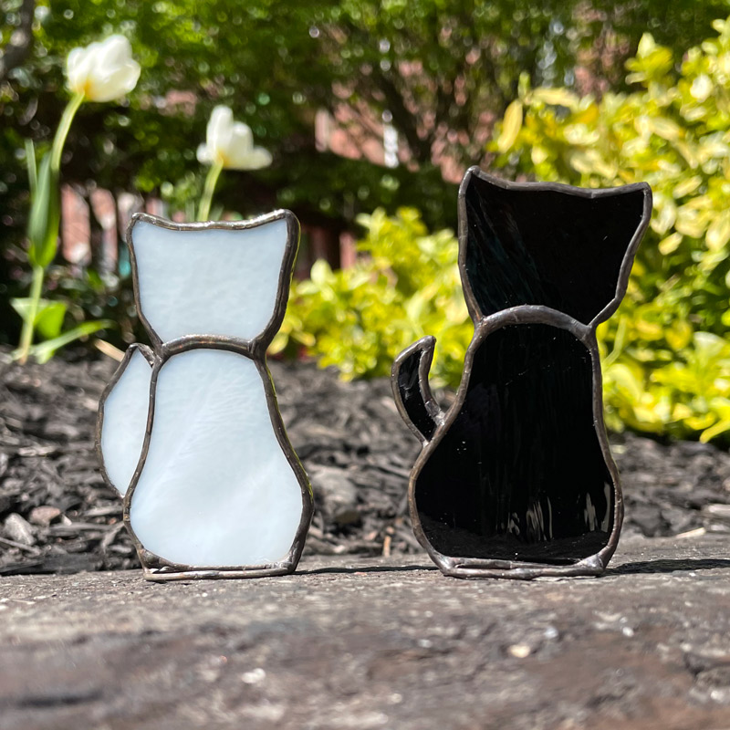 White Stained Glass Cat and Black Stained Glass Cat