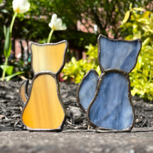 Tan Stained Glass Cat and Grey Stained Glass Cat