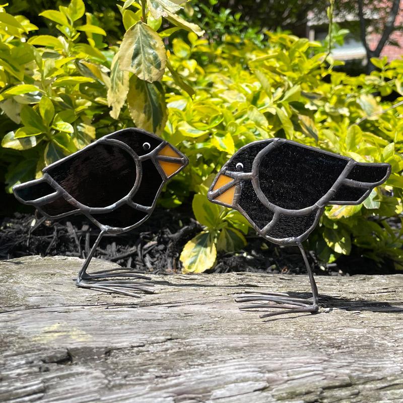 Mini Stained Glass Blackbird