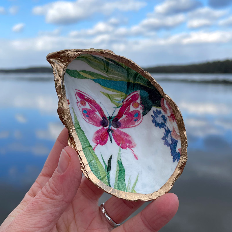 Pink Butterfly Oyster Shell Ring Dish