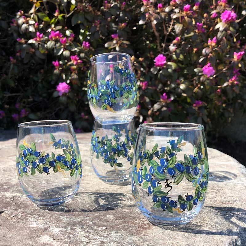 Lisa-Marie's Original Hand Painted Blueberry Mini Stemless Wine Glasses