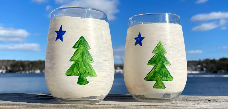 Lisa-Marie's Original Hand Painted First Maine Flag Glassware
