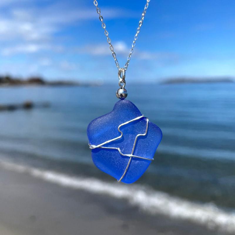 Blue Sea Glass Necklace