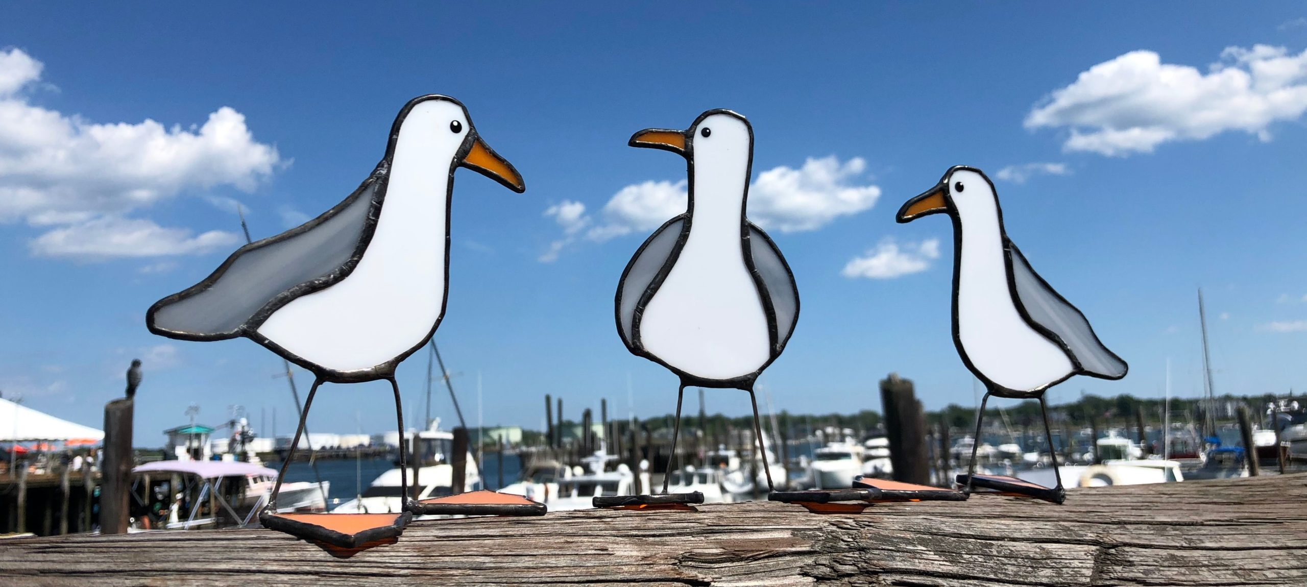 Stained Glass Sea Gulls