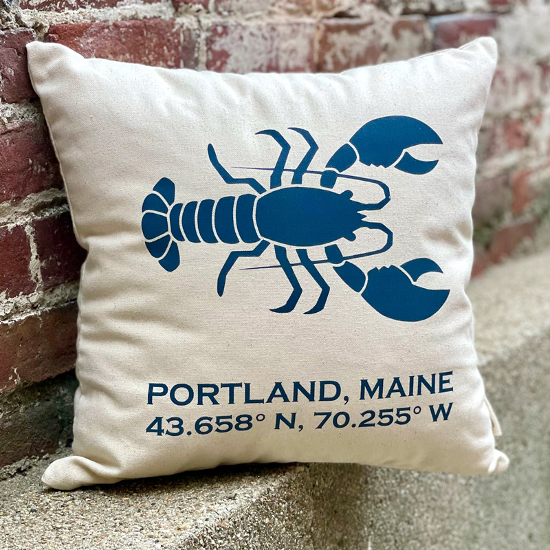 Portland, Maine Latitude & Longitude Pillow with Lobster in Blue