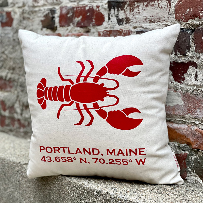 Portland, Maine Latitude & Longitude Pillow with Lobster in Red