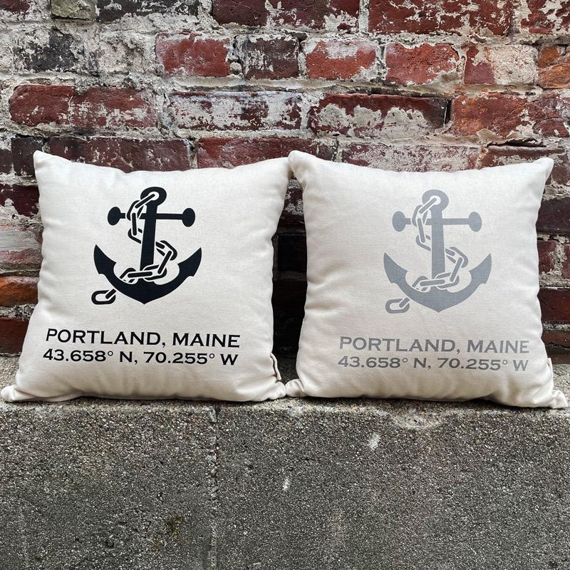 Portland, Maine Latitude & Longitude Pillow with Anchors - Black & Grey