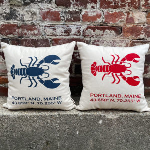 Portland, Maine Latitude & Longitude Pillow with Lobsters - Blue & Red