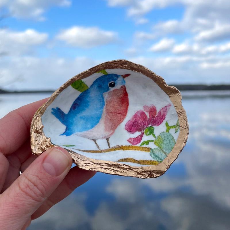 Blue Bird Oyster Shell Ring Dish