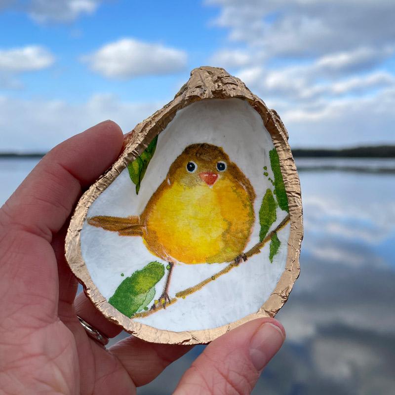 Yellow Bird Oyster Shell Ring Dish