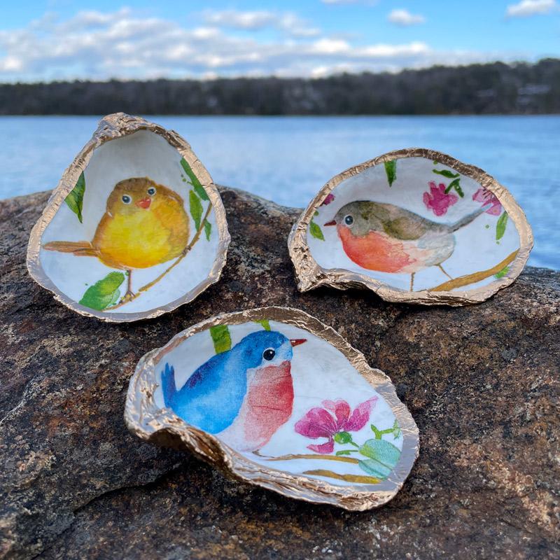 Birds & Butterflies Oyster Shell Ring Dish