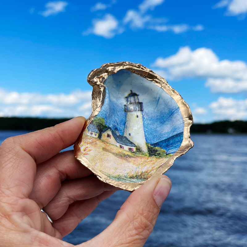 Lighthouse Oyster Shell Ring Dish