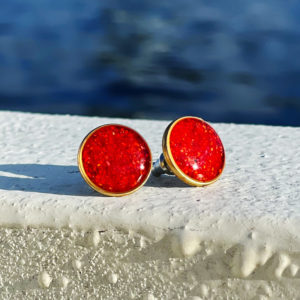 Large Crushed Lobster Shell Gold Post Earrings