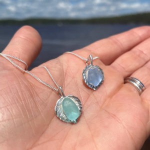 Sea Glass on Sterling Silver Leaf Necklace