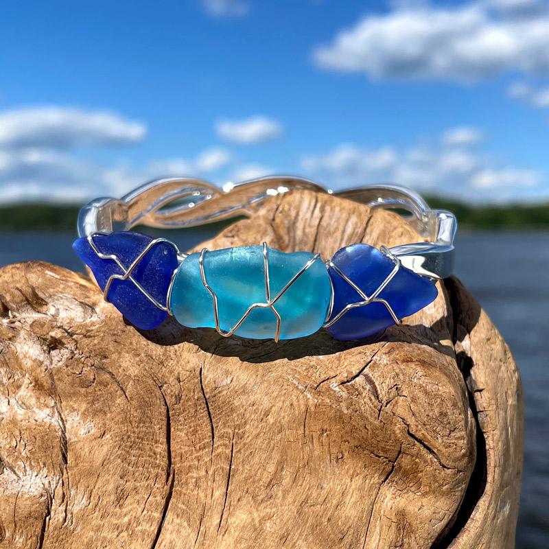 Cobalt Blue & Aqua Sea Glass Bracelet