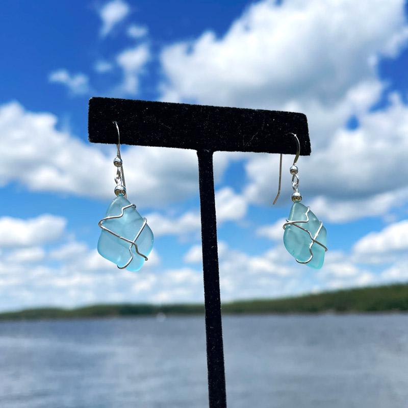Light Aqua Sea Glass Earrings
