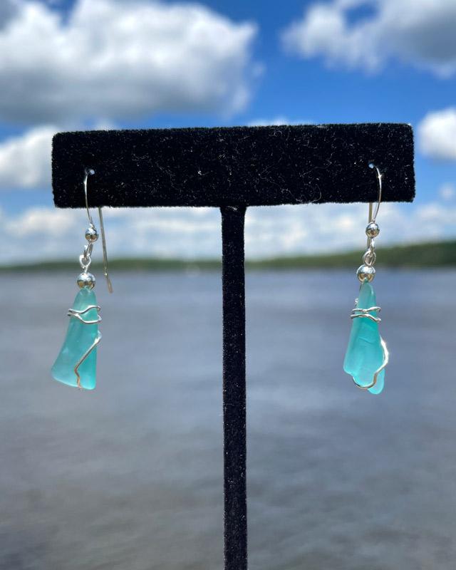 Teal Sea Glass Earrings