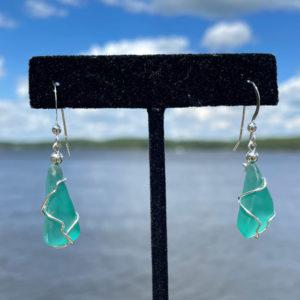 Teal Green Sea Glass Earrings