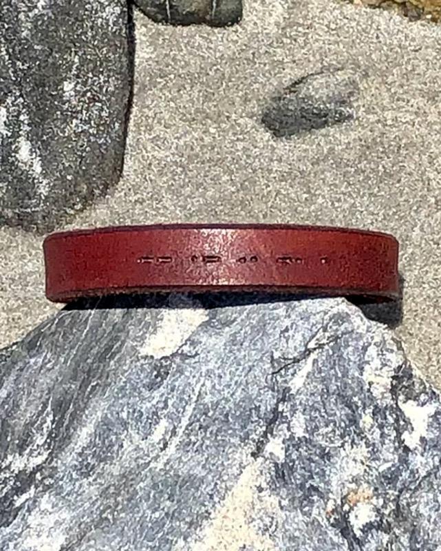 Morse Code Leather Bracelet - DIRIGO - Moccasin Brown