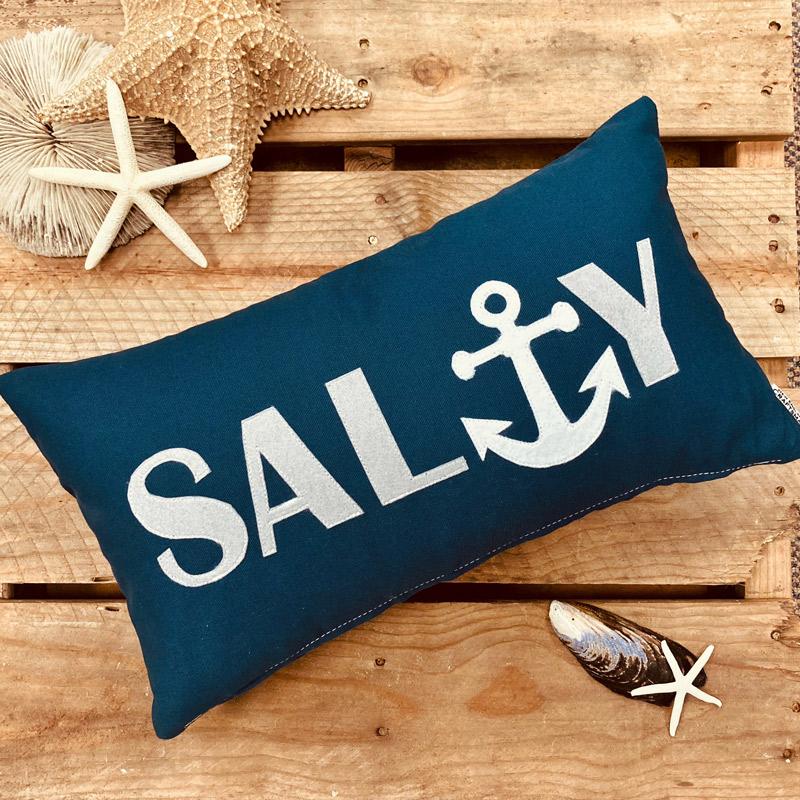 Salty Lumbar Pillow with applique