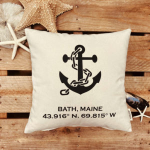 Bath, Maine Latitude & Longitude Pillow with Black Anchor