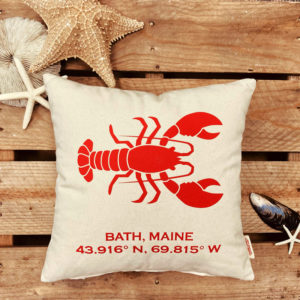 Bath, Maine Latitude & Longitude Pillow with Lobster Red