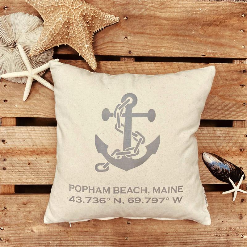 Popham Beach Latitude & Longitude Pillow with Grey Anchor