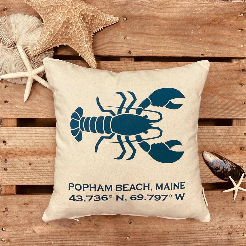 Popham Beach Latitude & Longitude Pillow with Blue Lobster