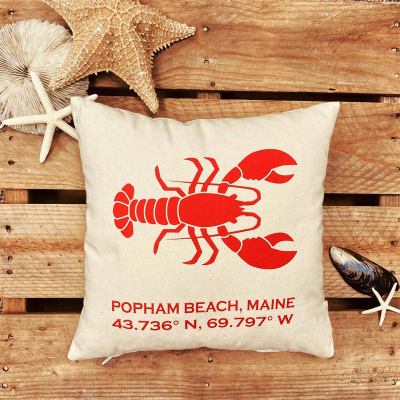 Popham Beach Latitude & Longitude Pillow with Red Lobster