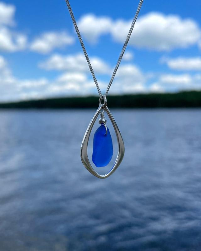 Cobalt Blue Sea Glass Teardrop Necklace