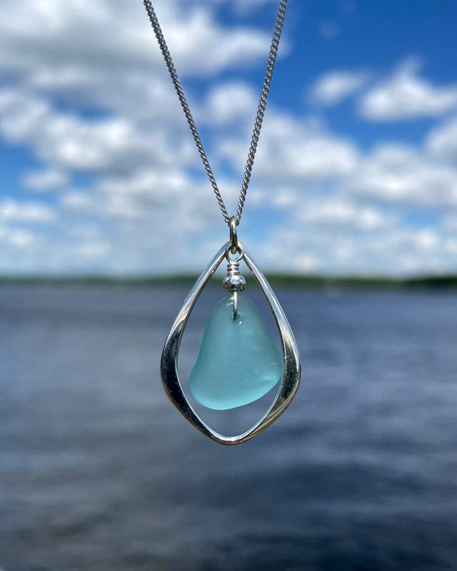 Teal Sea Glass Teardrop Necklace